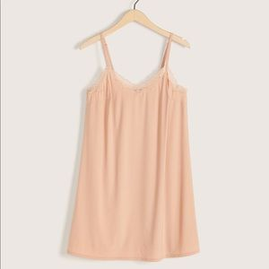 Additionelle slip dress in nude with lace trim 4X